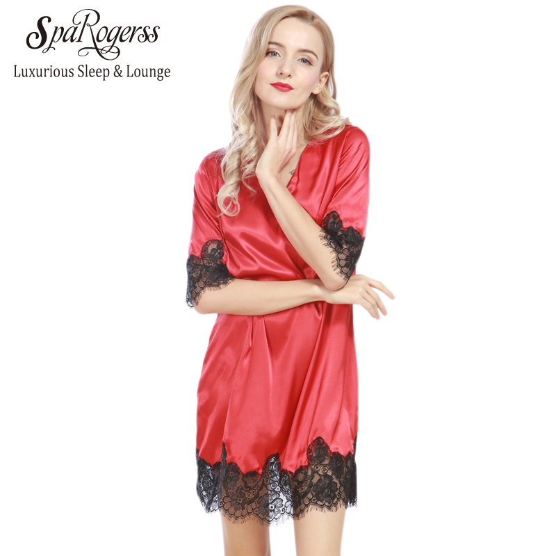 bf0a139117 SpaRogerss Lace Women Nightgowns 2018 Designer Summer Faux Silk Ladies Sexy  Dressing Gowns Female Silky Woman Sleep Lounge SQ328 in Pakistan