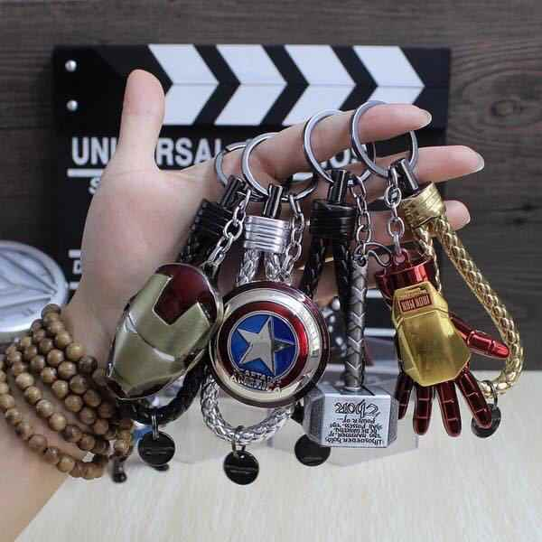 Avengers Super Hero Gantungan Kunci Iron Man Captain America Star Wars Spider-Man Panah Superman Perisai Batman Gantungan Kunci cincin
