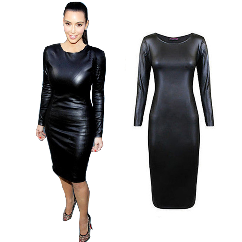 Fashion Women Bandage Dress PU Dress Leather Long Sleeve Sexy Party Bodycon Women's Clubwear Midi Vestidos