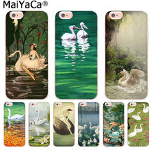 MaiYaCa Painting White Swans Prints lake Pattern phone Case for iphone 11 pro 8 7 66S Plus X 5S SE XS XR XS MAX(China)