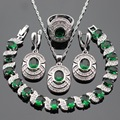 Silver Color Jewelry Sets Green Crystal White CZ Necklace Pendant Bracelets Earrings Rings For Women Christmas Free Gift Box