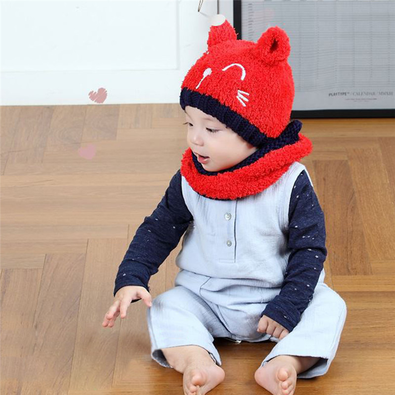New Winter Cute Cat Knitted Baby Caps and Scarves Boys Girls Toddler Beanie Earmuff Baby Hat Children Caps Scarf Set