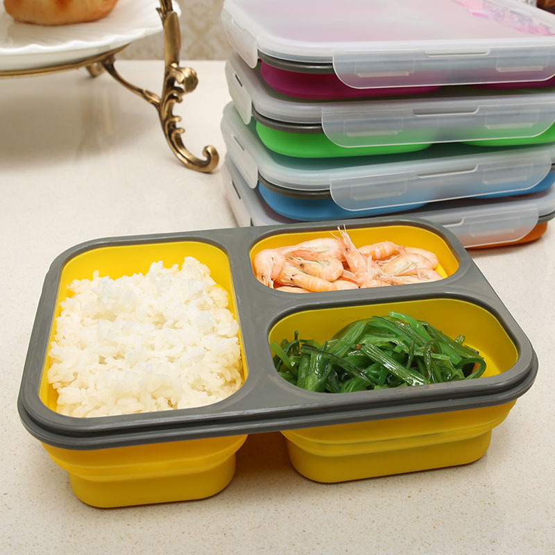 8f60fef47185 3 Cells Silicone Portable Collapsible Folding Bento Lunch Box with Lock  Microwave Safe Bento Foldable Food Container For Kids