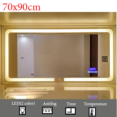 Умный светодиодный Зеркало для туалетной комнаты, анти-туман, сенсорный экран, настенное зеркало для макияжа, 700*900 мм, прямоугольные зеркальные зеркала с Bluetooth и музыкой - Цвет: M022B-700x900mm