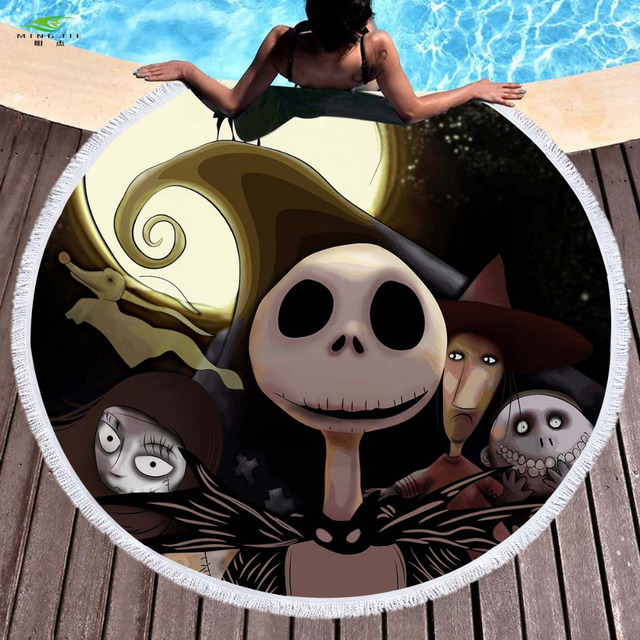 The Nightmare Before Christmas Jack Skellington Summer Round Beach Towel Microfiber Bath Towel for Adults Kid Halloween Printed