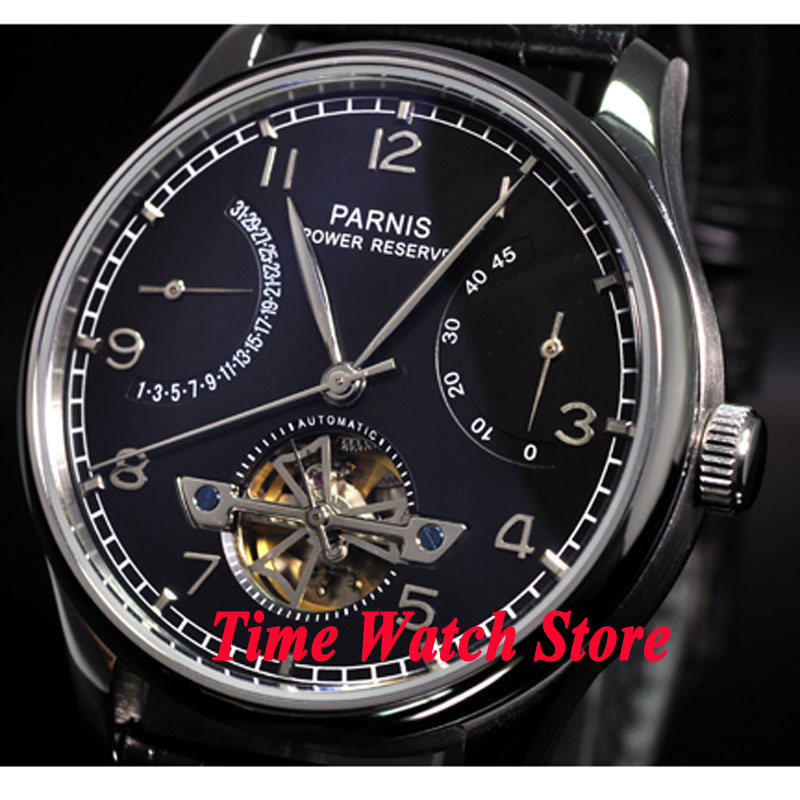 Parnis watch 43mm power reserve Black dial date Automatic Self Winding movement Men's watch 20