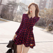 New Fashion Women Lapel Long Sleeve Tartan Plaids Checks Mini Dress Casual Shirt Dresses Evening Party Gown
