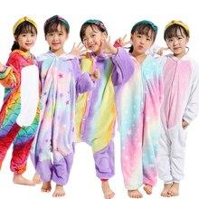 Kids Unicorn Onesie Sleepers Girls Animal Panda Long Sleeve Jumpsuit For Children Winter Kigurumi Flannel Licorne Pyjamas Kids