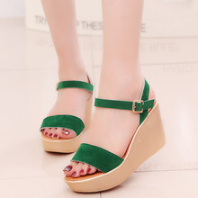 Solid Color Women Sandals Wedges Shoes Green Peep Toe Beach Sandals Buckle Strap Casual Shoes Wedges Woman Sandals 2019 Summer