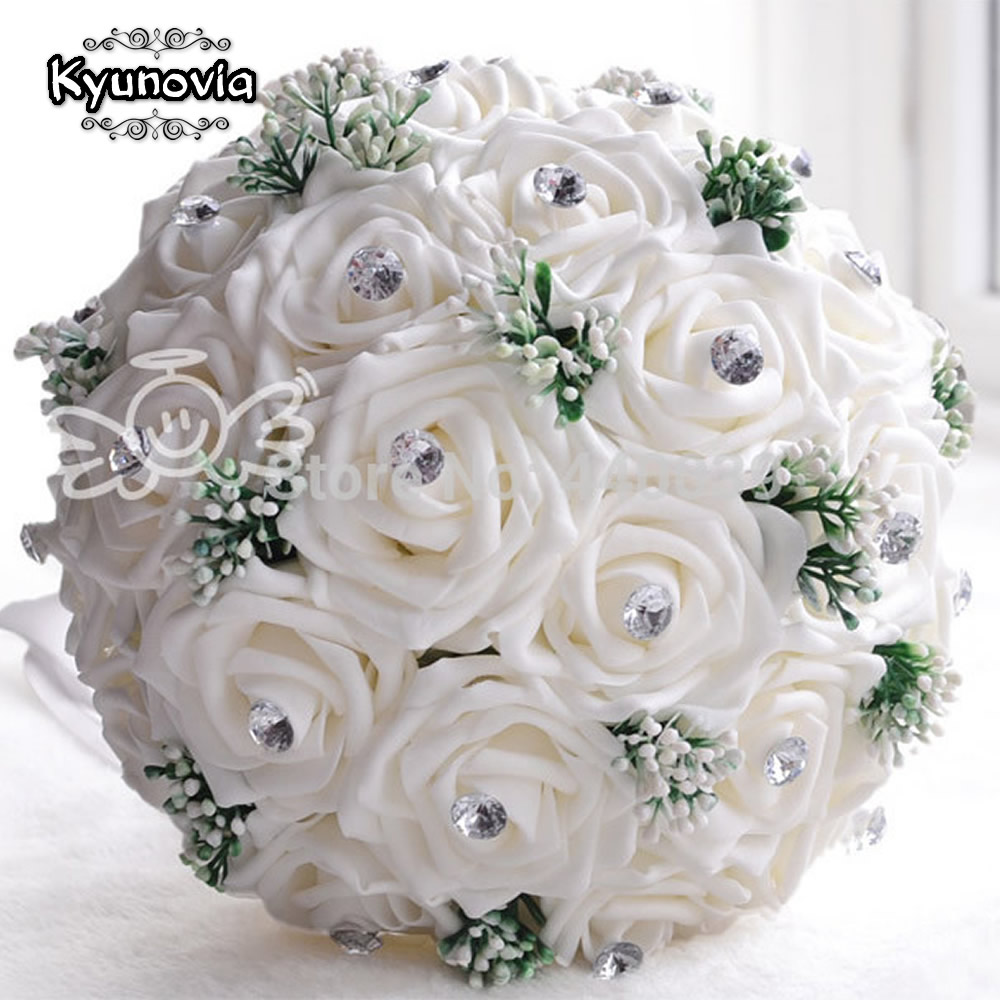 2015 New In Stock Gorgeous Handmade Wedding Flowers White Bridesmaid Bridal Bouquets Artificial Rose Bouquet FE01