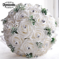 2015 New In Stock Gorgeous Handmade Wedding Flowers White Bridesmaid Bridal Bouquets Artificial Rose Wedding Bouquet