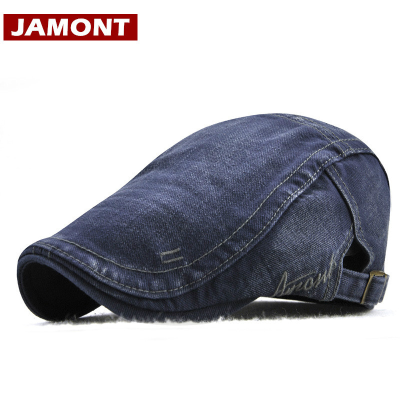 JAMONT Hat Driving Sun-Hat Embroidery Beret-Washed Newsboy-Style Summer Men for Flat
