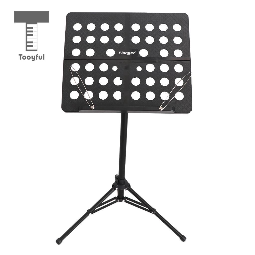 Tooyful Adjustable Alloy Tripod Music Stand Music Score Note Holder for Musician Concert Stage Accessory Black music note party swing dress
