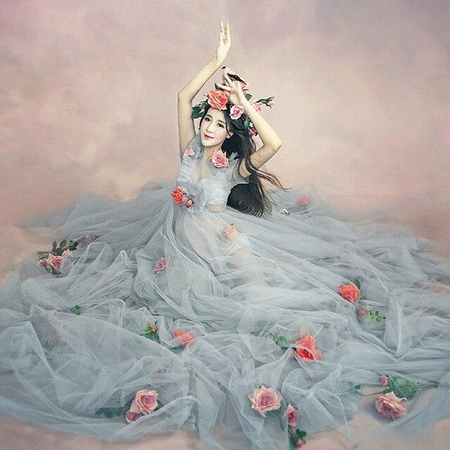 Romantische Elegante mutterschaft kleider für foto schießen party ...