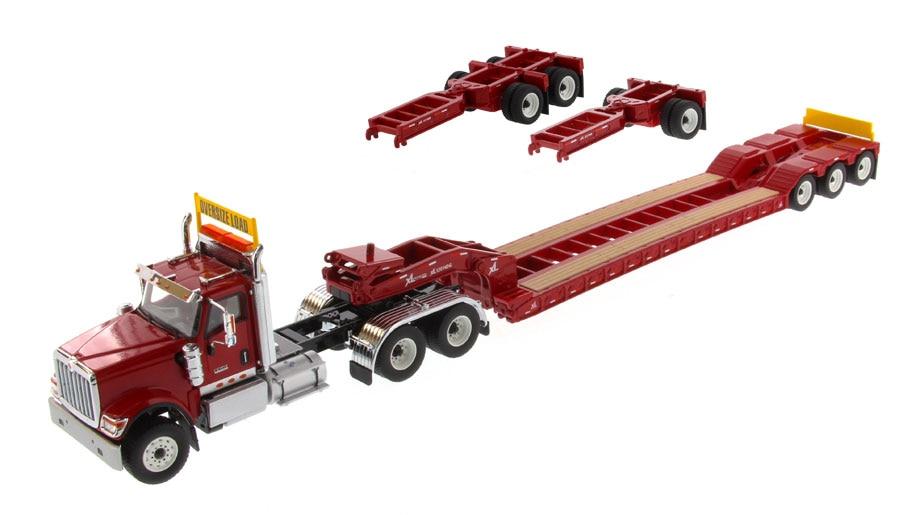 DM-71016 1:50 Международный HX520 тандем день кабина трактор с XL 120 Lowboy трейлер в красном