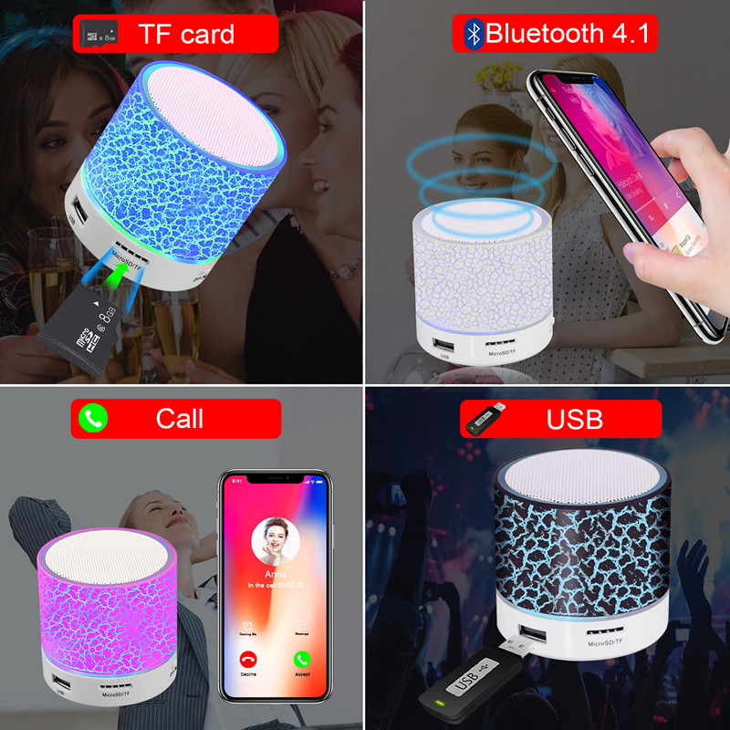 GETIHU LED Bluetooth Speakers Wireless Portable Mini Hands Free Speaker TF USB FM Mic Blutooth Music For iPhone 8 X Mobile Phone 2