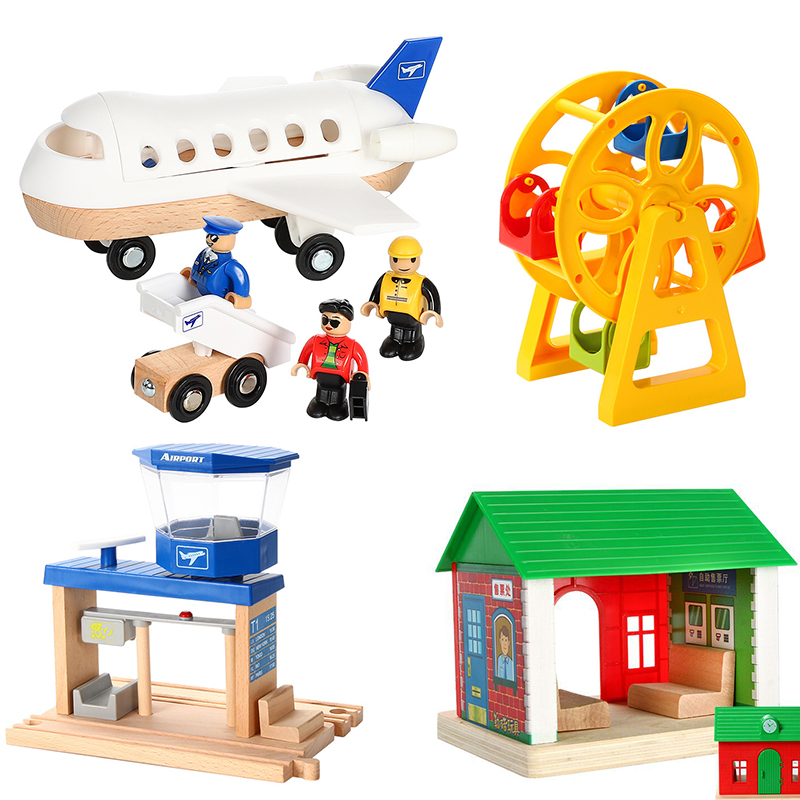 Wooden Train Track Accessories Large Airplane Airport Suit Fit Wooden Track