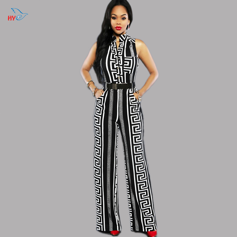 Padodo Fashion Women Wide Leg Overalls 2016 Long Trousers Outfits Black/White Print Gold Belted Jumpsuit Ladies Playsuits