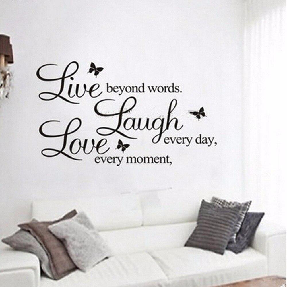 Muurstickers Slaapkamer Love.Nieuwe Engels Tekst Live Laugh Liefde Muurstickers Verwijderbare