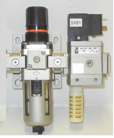 SMC AIR PNEUMATIC REGULATOR / FILTER ASSEMBLY, AV3000-F03-5YC + AW30-F03BDG-A Soft Start Up Valve and Filter Regulator smc type pneumatic solenoid valve sy5120 3lzd 01