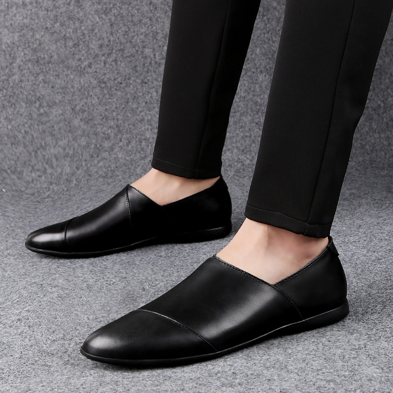 2019 Casual Men leather party Dress shoes business breathable fashion Male Flats high quality split loafers