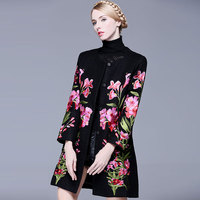 Hot 2015 Europe Style Winter Chinese Tranditional Vintage Luxury Gorgeous Embroidery Wool Coat Ladies Overcoat Plus
