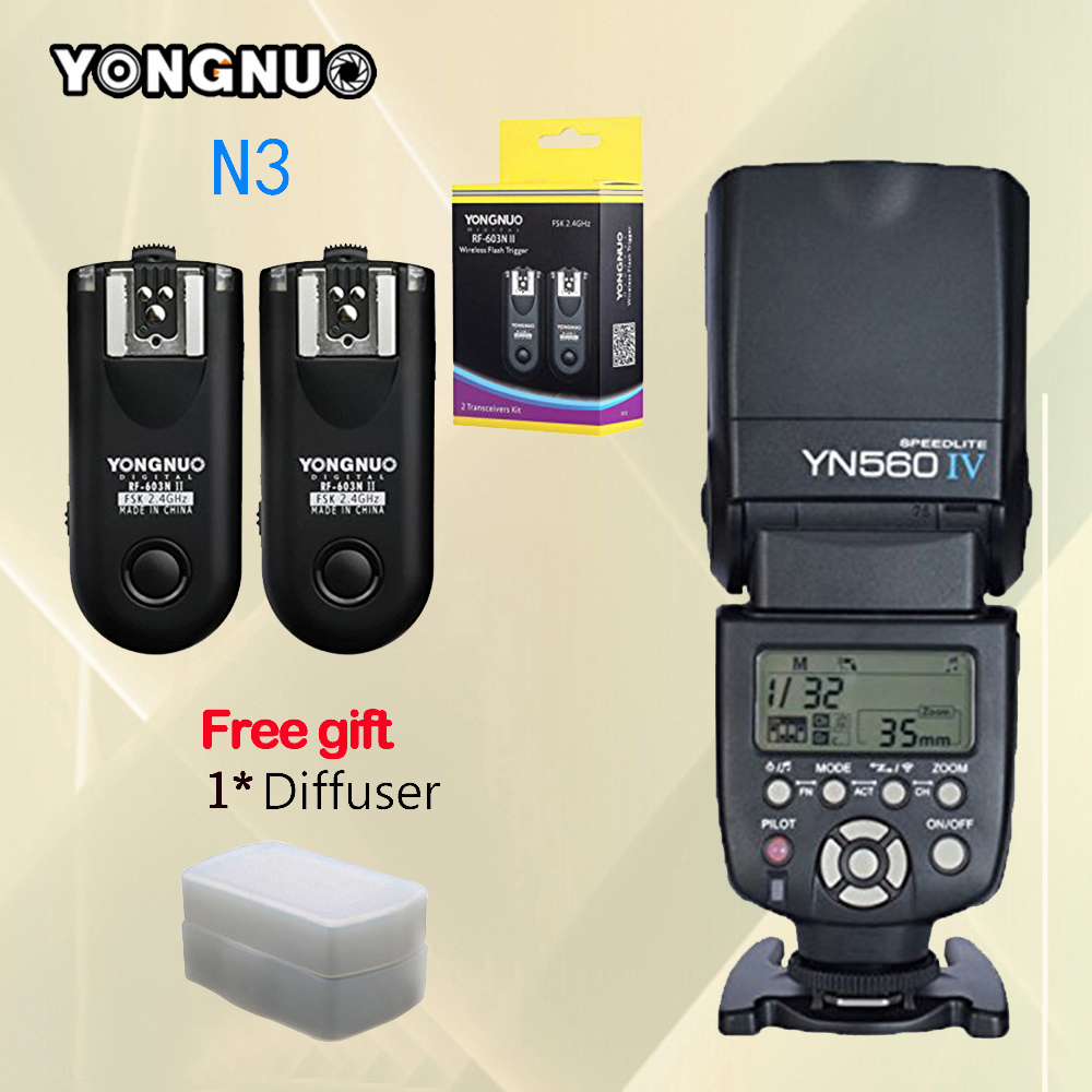 For Nikon D90 D7100 D7000 D3100 D5100 Camera YONGNUO YN560-IV YN560 IV YN560IV Speedlite + RF-603 II N3 RF603 II Flash Trigger yongnuo yn560 iv master radio flash speedlite rf 603 ii flash trigger for canon pentax olympus