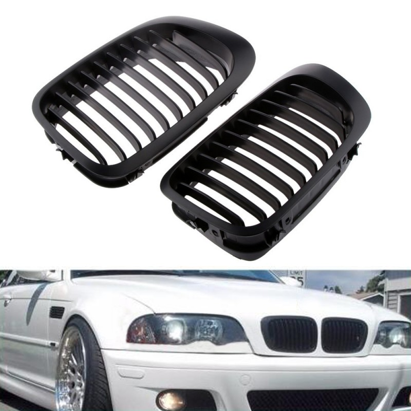 1 Pair Matte Black Front Kidney Grille Grill Set For 1999 2002 BMW E46 2 Door Coupe 3 Series 318i 325Ci Coupe Convertible