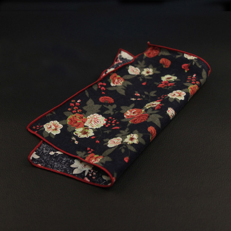Cotton Hanky Paisley Men Fashion Floral Pocket Square Handkerchiefs For Men Suit Tie Handkerchief Wedding