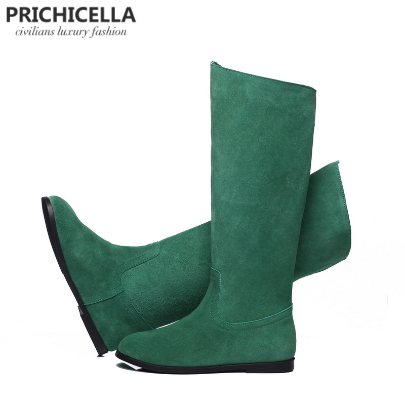 PRICHICELLA genuine leather suede knee high boots women winter warm tall booties orange green color bootsPRICHICELLA genuine leather suede knee high boots women winter warm tall booties orange green color boots