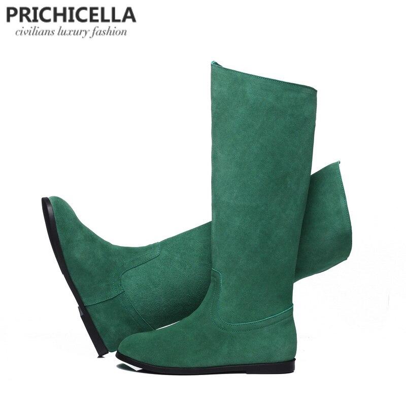 Prichicella حقيقي جلد الغزال الركبة عالية أحذية النساء الشتاء الدافئ الجوارب اللون البرتقالي الأخضر أحذية التل-في بوت للركبة من أحذية على  مجموعة 1