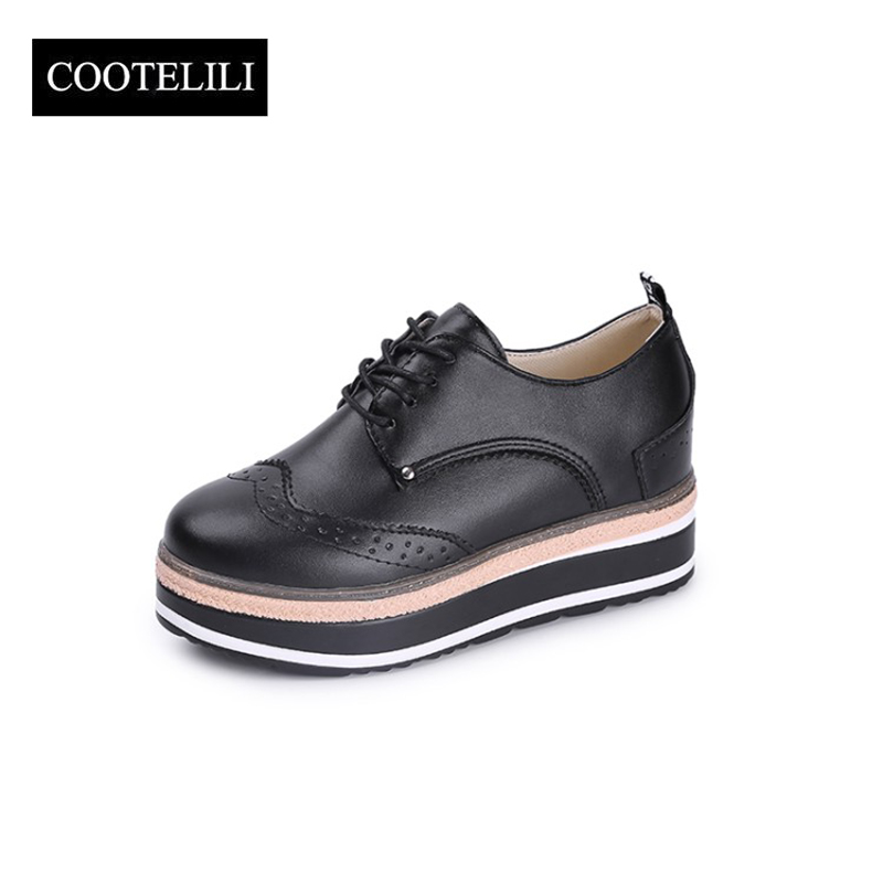 COOTELILI 35-39 Spring Casual Solid Flats Women Shoes Carved Lace-Up Brogue Shoes Flat Platform Oxfords Round Toe Ladies Shoes new arrivals 2016 l solid plain lace up round toe platform flat heels comfortable flats sale women fashion shoes