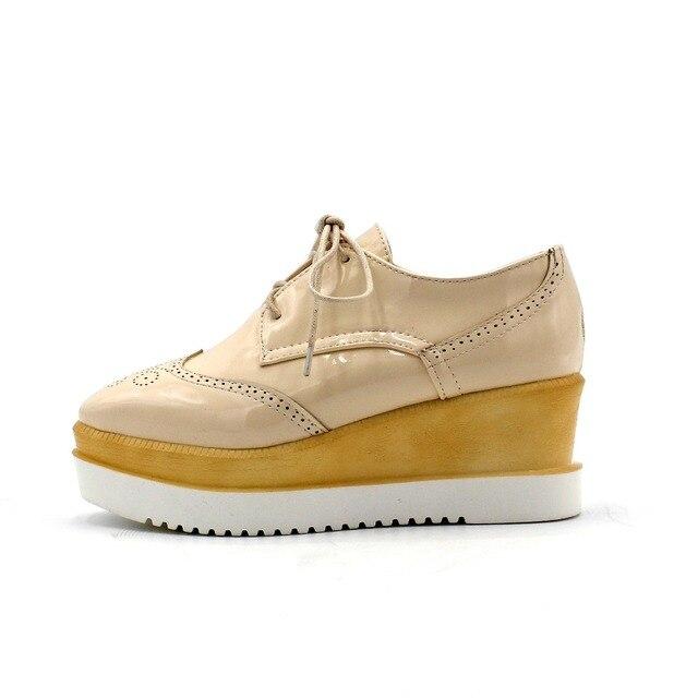 ENMAYER Dot Decoration Large Size 34-43 Women High Heels Shoes Fashion Lace Up Wedges Pumps Spring Casual Platform Women Shoes