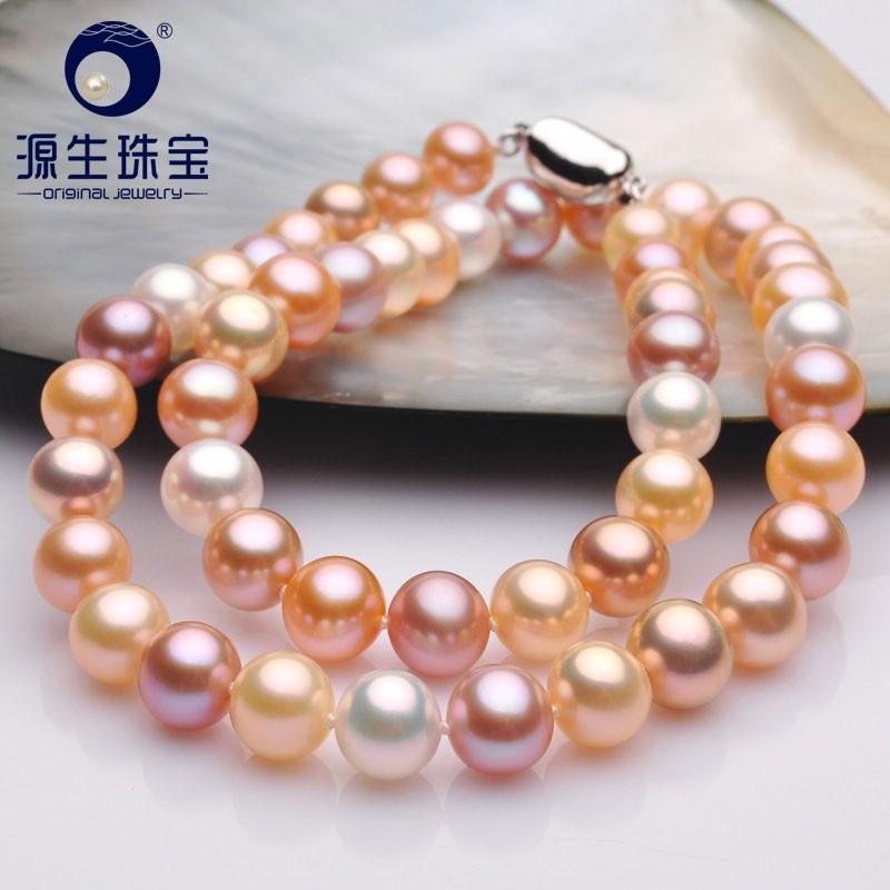 YS 8-9mm Mix couleur collier de chaîne de perles d'eau douce ronde bijoux fins femme
