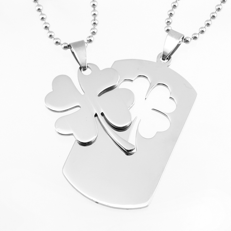 Lovers Necklace 4 leaf clover Lucky leaf a pair/couple pendants Stainless steel mirror polished plant charms Necklace