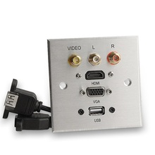 แผงอลูมิเนียมผนังมัลติมีเดียซ็อกเก็ต HDMI VGA VIDEO L/R ช่อง USB พอร์ตสัญญาณอินเทอร์เฟซแผง 86 มม.* 86 มม.แผง