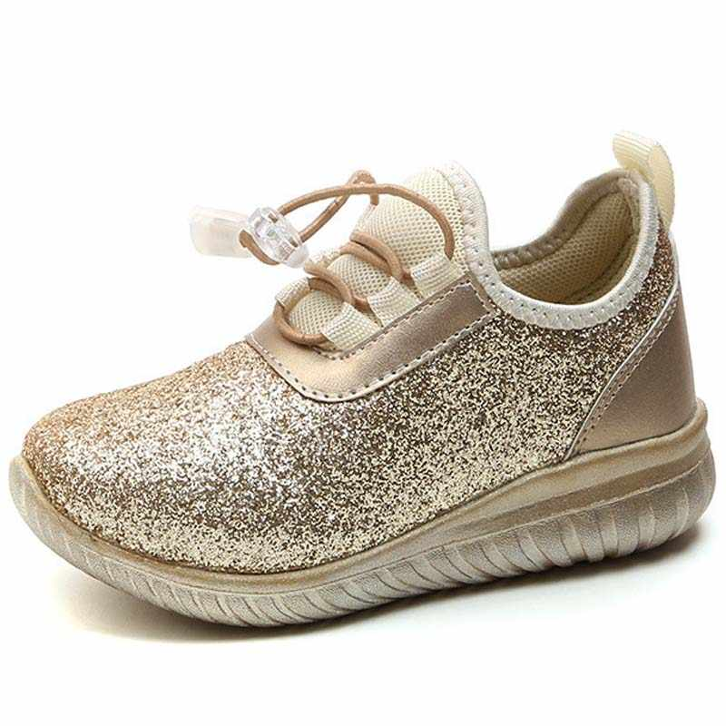 Children's Glett shoes Boys Sneakers EVA Sole Kids Sports baby Casual Flat Golden silver Shoes girls shoes for party and wedding