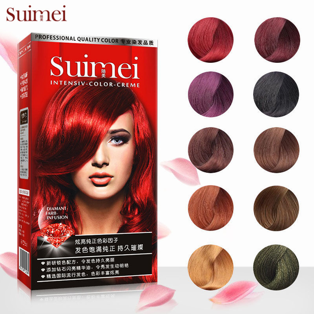 SUIMEI Professional Use Colour Cream Golden Brown Red Purple Hair Color Dye Cream Natural Permanent Hair Dye with Peroxide Gream