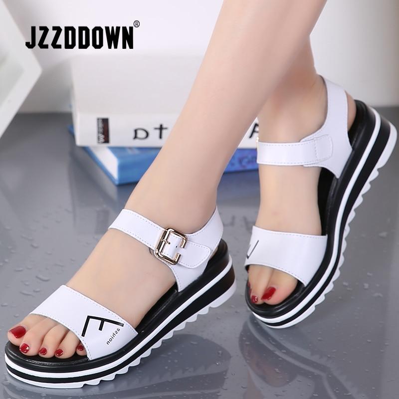Genuine Leather Women Flats Platform Sandals Shoes Ladies Sliver Sneakers Shoe 2018 Summer Fashion Platform High Heel Footwear