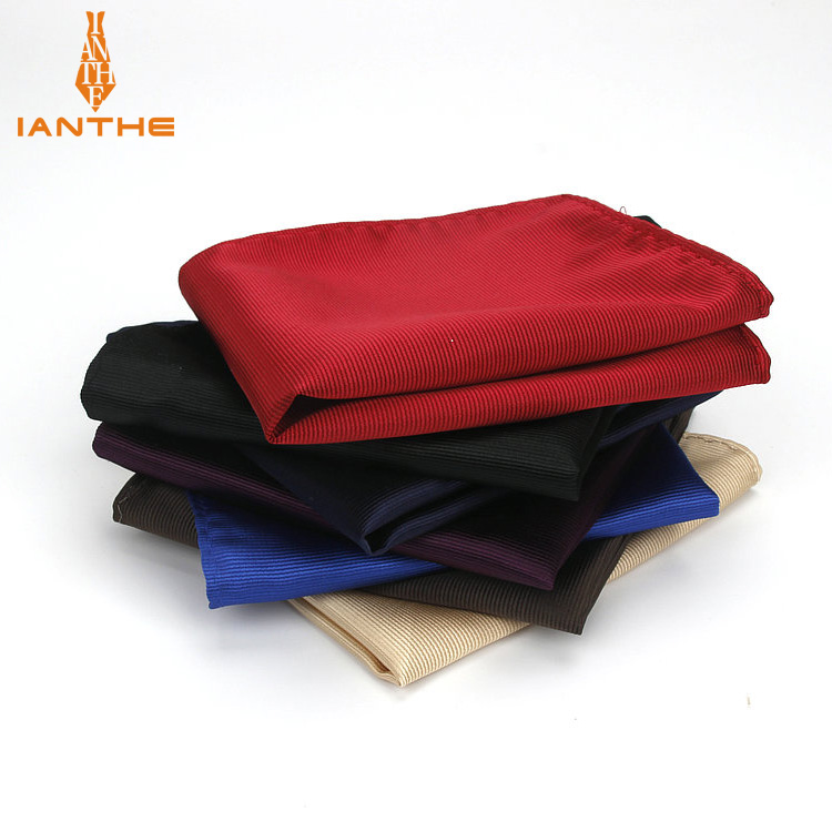 Men's Vintage Fashion Solid Polyester Silk Party Handkerchief For Man Groomsmen Men Fashion Pocket Square Hanky Corbata Gravatas