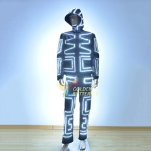 LED Suits Men Luminous Glowing Circus Clothe 2015 Fashion LED Hooded Suits Clothing Ballroom Mechanical Dance Dress Accessories