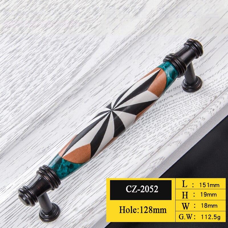 Керамические дверные ручки европейские ручки для антикварной мебели ручки и ручки для кухонного шкафа - Цвет: CZ-2052-128