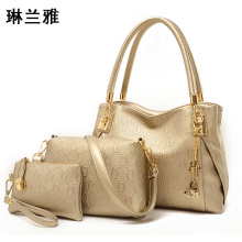 New 2016  women handbags leather handbag women messenger bags ladies brand designs bag bags Handbag+Messenger Bag+Purse 3 Sets
