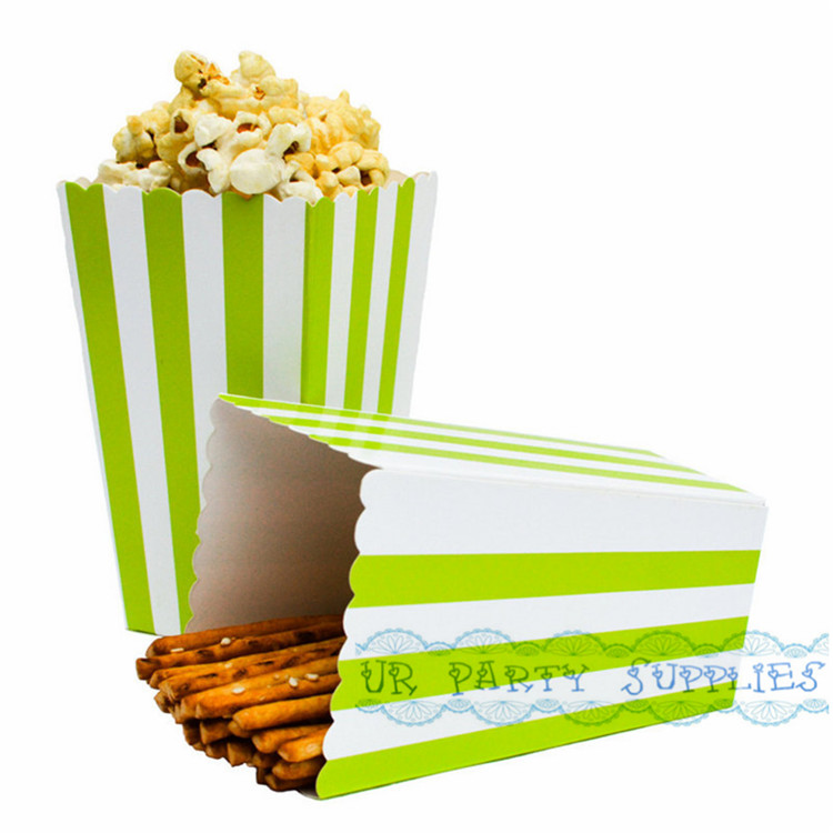 Free Shipping 48pcs/lot Green Striped Popcorn Boxes Treat Carton Candy Tub Popcorn Container