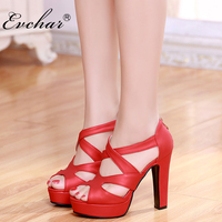 Fashion NEw Thick Heels super High Heels Shoes Women Platform peep Toe gladiator corss-tied Women's Pumps large size 31-43