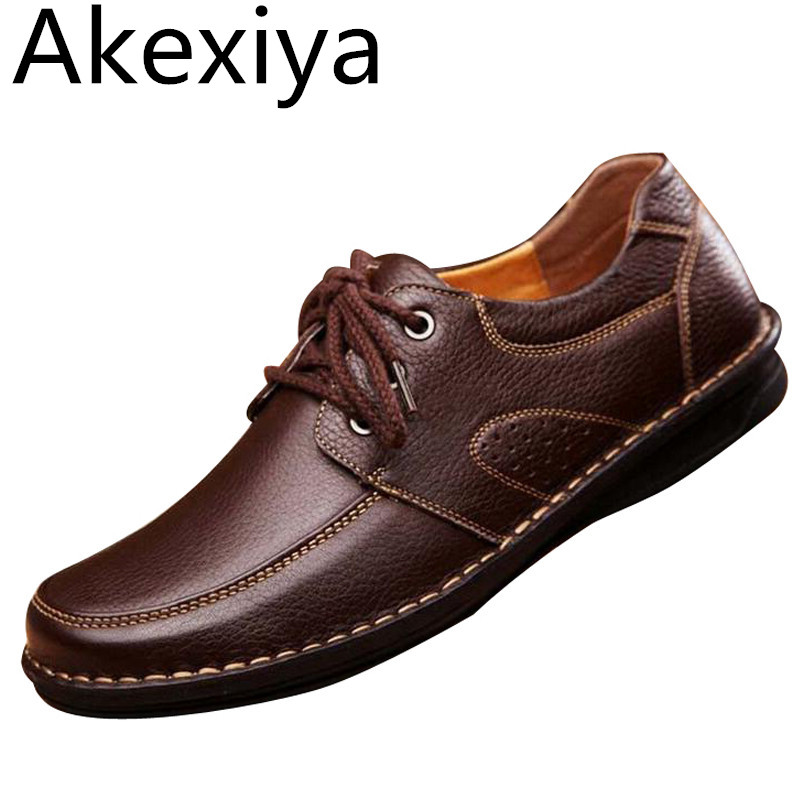 Akexiya Men Casual Shoes Spring Soild PU Leather Shoes Man Autumn Lace Up Basic Flats Male Slip On Loafers Size 38-44 2017 autumn fashion men pu shoes slip on black shoes casual loafers mens moccasins soft shoes male walking flats pu footwear
