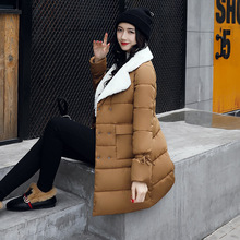 New Women's Parkas Winter Jacket Women Long Down-Cotton Jackets New Wadded Jacket Girls Padded Flocking Collar Coat Parkas