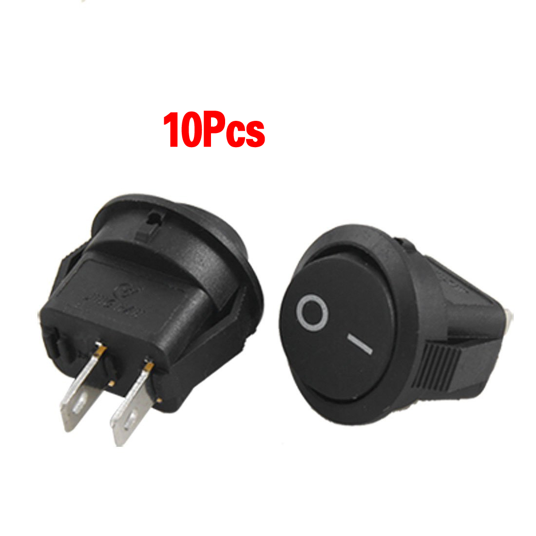 MYLB-10pcsx AC 3A/250V 6A/125V ON-OFF I/O SPST 2 Pin Snap in Round Boat Rocker Switch high quality 10 pcs ac 250v 6a ac 125v 10a 2 pin on off spst snap in boat rocker switch