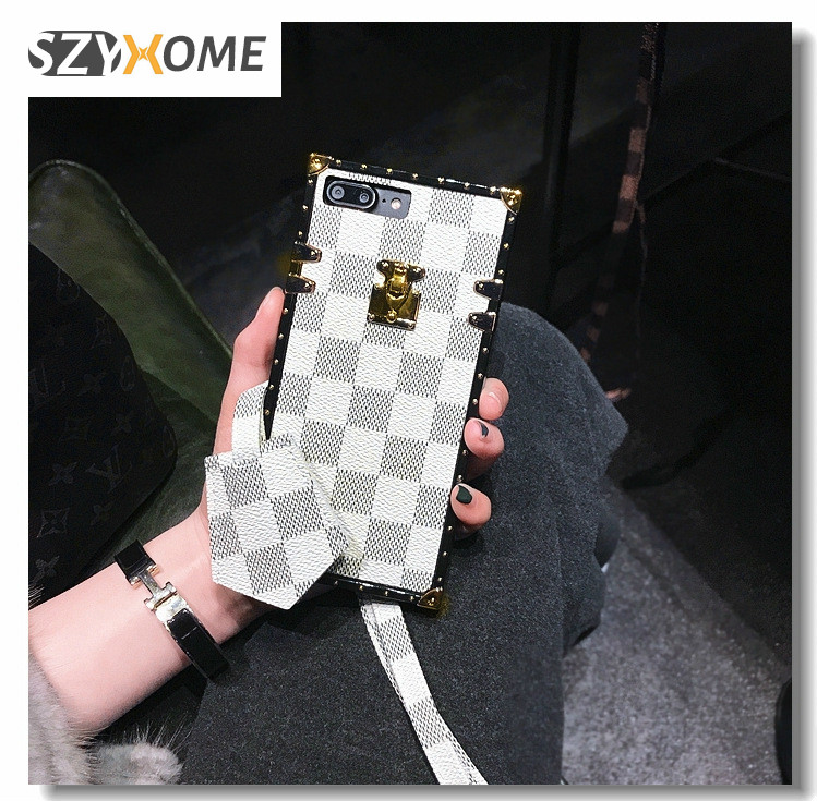 SZYHOME Phone Cases for Iphone X 6 7 8 Plus Vintage Luxury Fashion Square Lattice TPU Silicon Soft Phone Back Cover Accessories ...