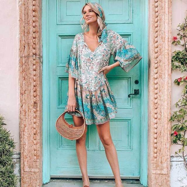 4fccd35fe2f1b US $21.44 35% OFF|Vintage Inspired boho dress wide kimono sleeve floral  peacock print resorted mini summer dress Spring 2019 New women dresses-in  ...